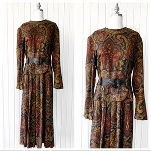 Vintage 90s Paisley Long Sleeve Belted Dress